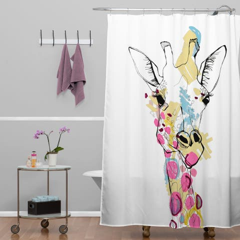 Casey Rogers Giraffe Color Shower Curtain