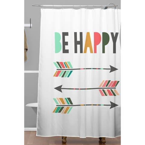 Chelcey Tate Be Happy Shower Curtain