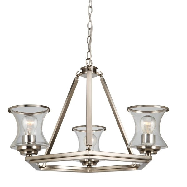 Artcraft Lighting Dorsett AC10233BN Brushed Nickel/Clear Metal/Glass 3-light Chandelier