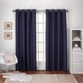 ATI Home Textured Linen Thermal Curtain Panel Pair with Grommet Top in Navy Blue (As Is Item)