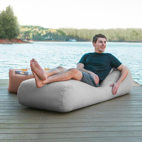 Jaxx Arlo Outdoor Bean Bag Chaise Lounge with Pillow