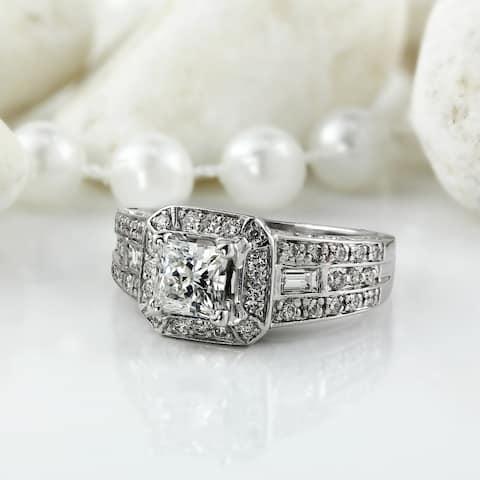 Auriya 18k Gold 18k White Gold Vintage Art Deco 1 3/4ct TDW Certified Princess-Cut Halo Diamond Engagement Ring
