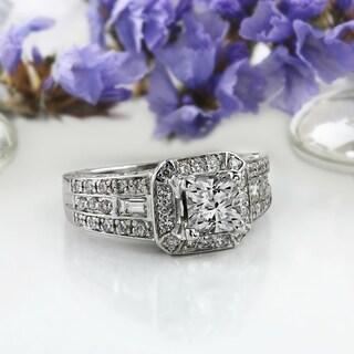 Auriya 18k White Gold Vintage Art Deco 1 3/4ct TDW Certified Cushion-Cut Halo Diamond Engagement Ring