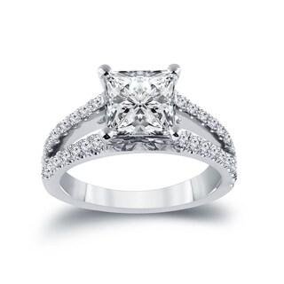 Auriya 14k Gold 2 3/8ct TDW Certified Princess-cut Split Shank Diamond Engagement Ring