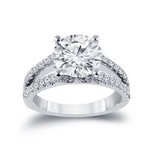 Auriya 14k Gold 2 1/3ct TDW Certified Round Split Shank Diamond Engagement Ring