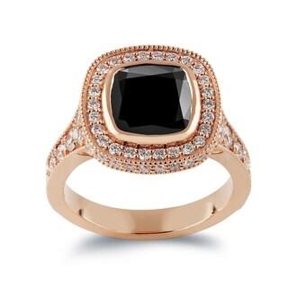 Auriya 14k Gold 3 1/2ct Cushion-Cut Black Diamond and 1 3/8ct TDW White Diamond Halo Engagement Ring