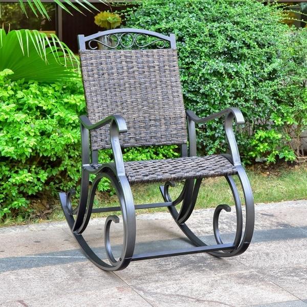 shop international caravan ibiza aluminum outdoor porch rocker on