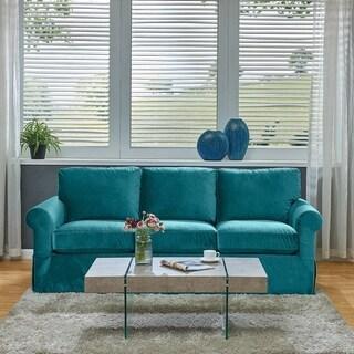 Handy Living Bella Turquoise Velvet SoFast Slipcover Sofa with Skirt