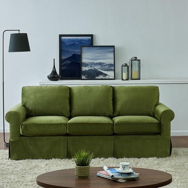 Chenille Skirted Sofa: Shop Handy Living Bella Green Velvet SoFast Slipcover Sofa