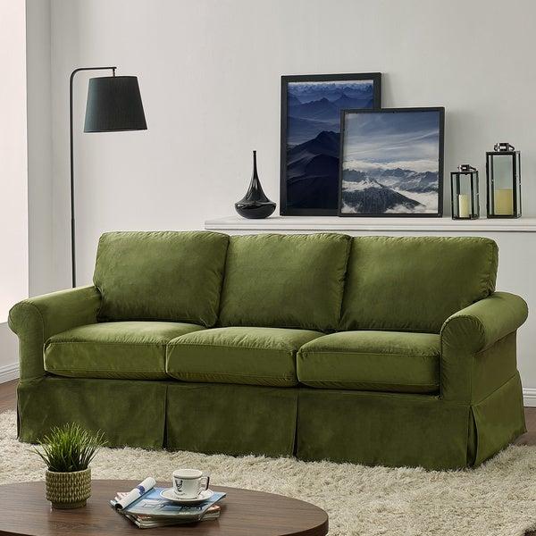 Shop Handy Living Bella Green Velvet Sofast Slipcover Sofa
