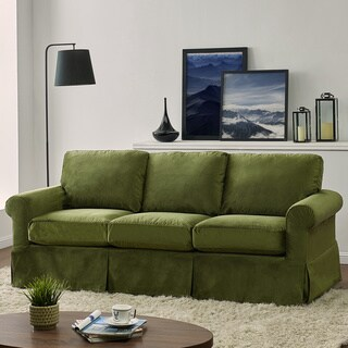 Handy Living Bella Green Velvet SoFast Slipcover Sofa with Skirt