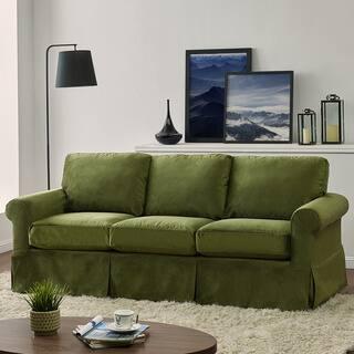 Handy Living Bella Green Velvet Sofast Slipcover Sofa With Skirt