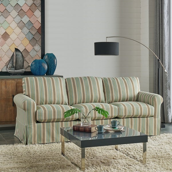 Shop Handy Living Bella Blue Stripe Sofast Slipcover Sofa With Skirt Free Shipping Today