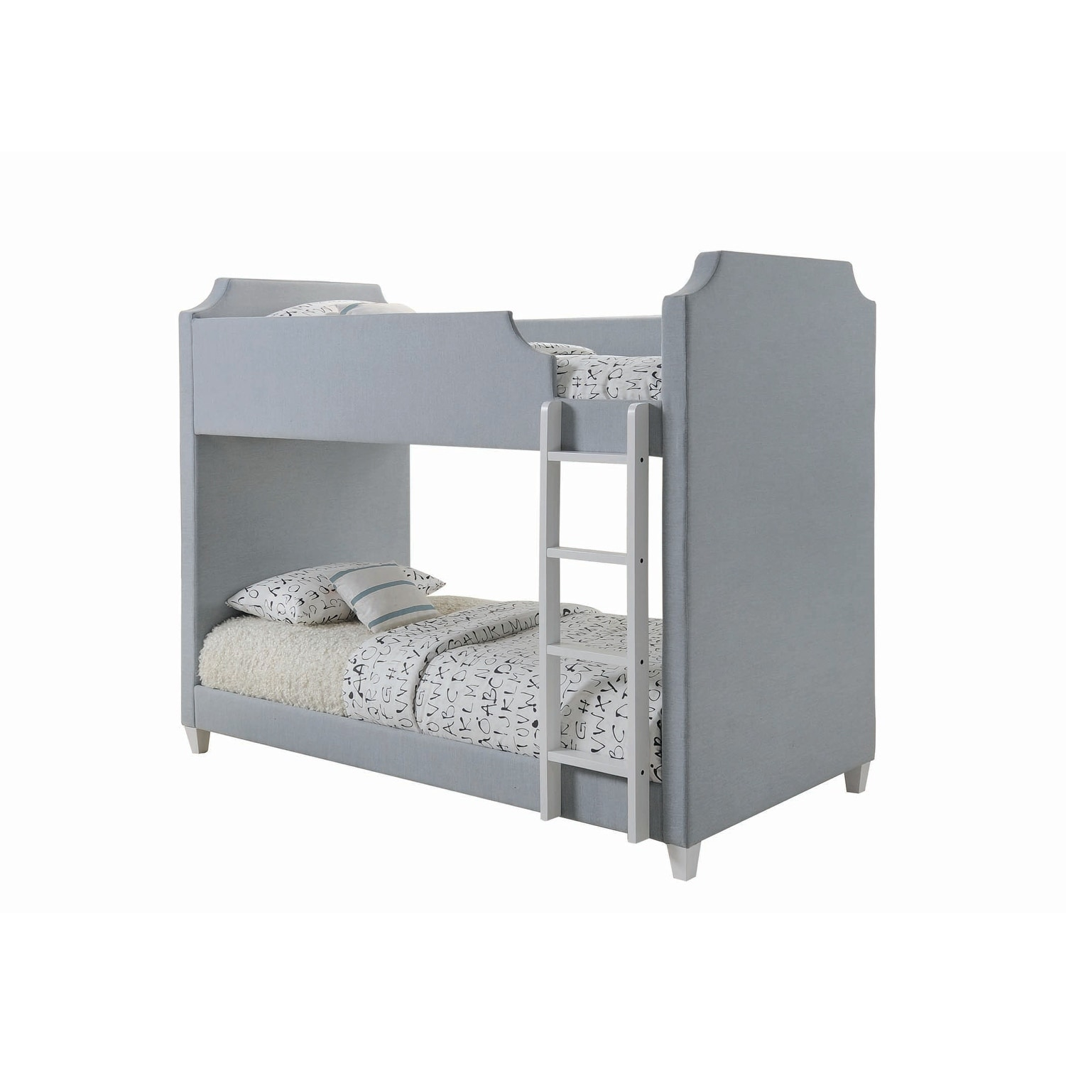 White Metal//Grey Upholstery Twin Size DHP Chesterfield Upholstered Linen Bunk Bed