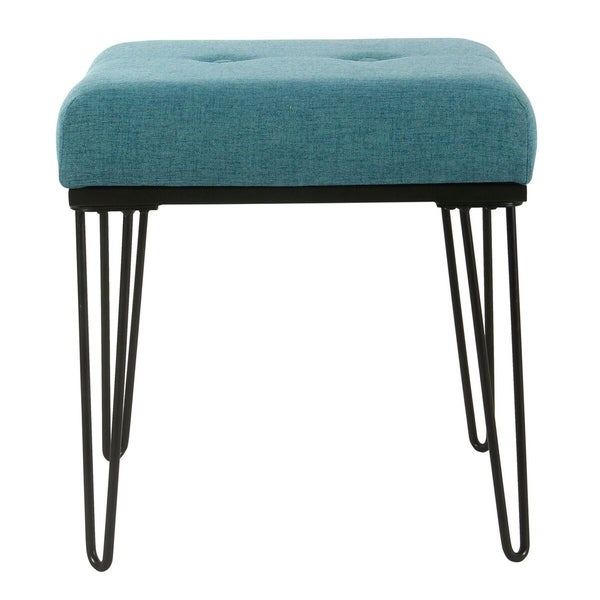 Shop Homepop Modern Turquoise Ottoman With Hairpin Legs Free