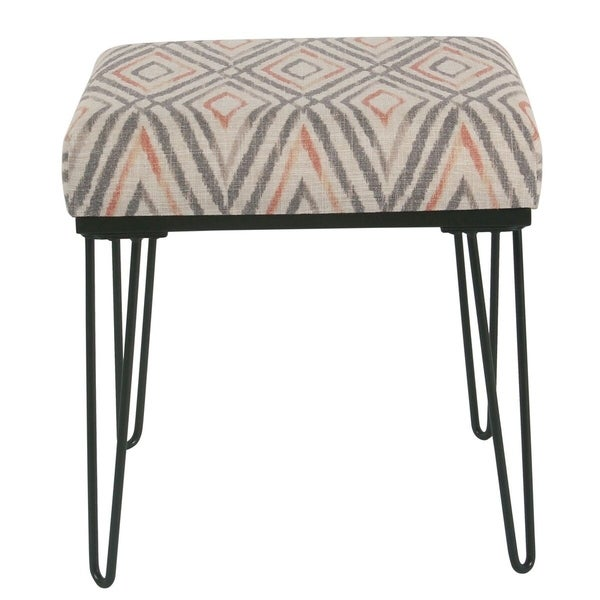 Shop Homepop Modern Grey Patterned Ottoman With Hairpin Legs Free