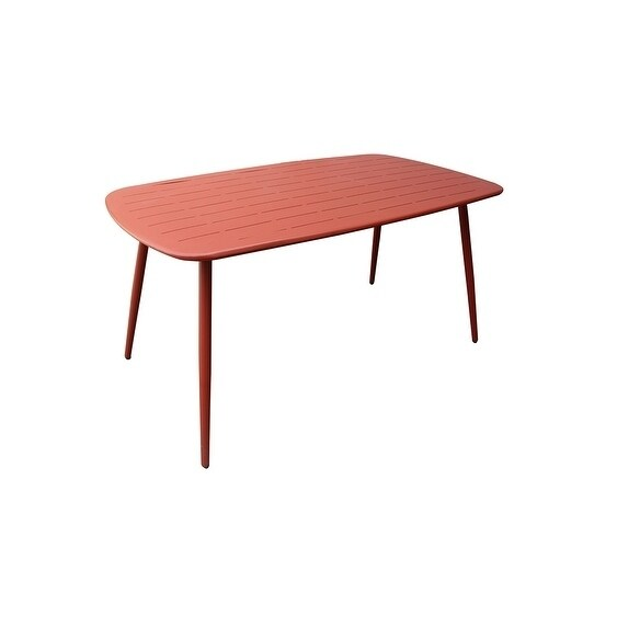 Sunjoy Seaside Mid Century Red Steel/ Metal Outdoor Dining Table