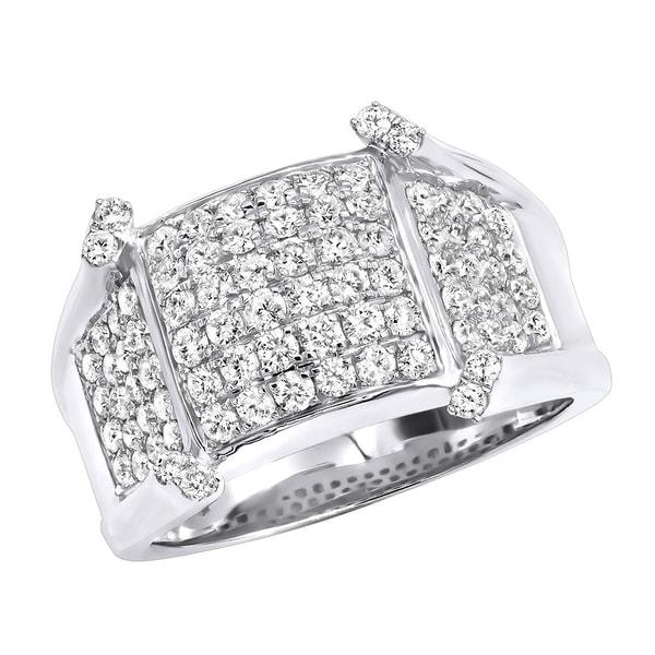 fa7abc1c8e27ed Unique Diamond Pinky Rings Mens Diamond Band in 14k Gold 1.75ctw by Luxurman