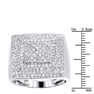 Solid 10K Gold Pyramid Shaped 2 Carat Diamond Mens Pinky Ring by Luxurman