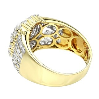 Men's Solid 10K Rose, White or Yellow Gold Diamond Ring 2.5ctw by Luxurman