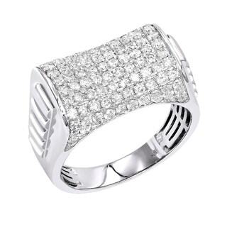 2 carat Mens Diamond Band 10kt Gold Pinky Ring by Luxurman