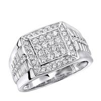 10K Gold Mens Pinky Rings 1 Carat Diamond Band Square Shape 1ctw by Luxurman