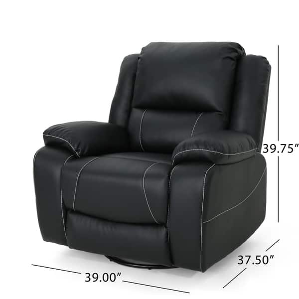 Malic Tufted Faux Leather Swivel Recliner By Christopher Knight Home On Sale Overstock 21014356