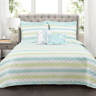 Lush Decor Sealife Stripe 3 Piece Quilt Set