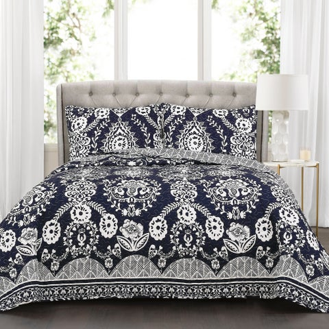 Lush Decor Rosetta Floral 3 Piece Quilt Set