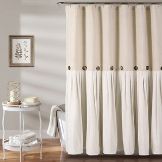 Lush Decor Linen Button Shower Curtain