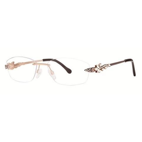 Caviar Rimless 5620 C16 Women Austrian Crystals Brown Gold Eyeglasses - M