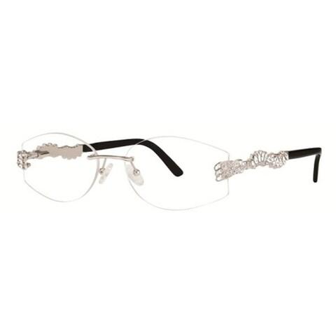 Caviar Rimless 2354 C35 Womens Austrian Crystals Silver Eyeglasses - M