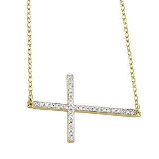 10K Yellow Gold 1/6ct. TDW Diamonds Sideways Cross Necklace