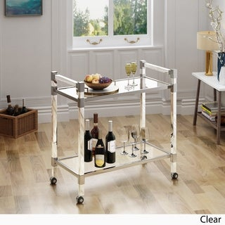 Mirren Modern Glass Bar Trolley by Christopher Knight Home