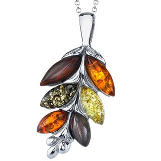 "Oliveti Sterling Silver Baltic Amber Ash Leaf Multi Color Pendant Necklace 18"" Free Rolo Chain - Multi Color"