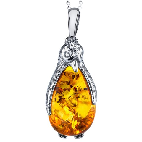 "Oliveti Sterling Silver Pear Shape Baltic Amber Penguin Pendant Necklace 18"" Free Rolo Chain - cognac amber"