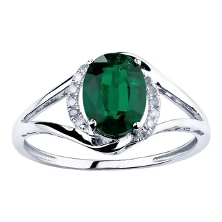 10K White Gold 1.28ct TW Emerald and Diamond Ring - Green