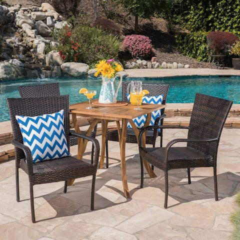 Briar Outdoor 5-piece Acacia Wood/ Wicker Dining Set by Christopher Knight Home