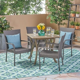 Briar Outdoor 5-piece Acacia Wood/ Wicker Dining Set by Christopher Knight Home (Iron/Wicker/Acacia - Grey)