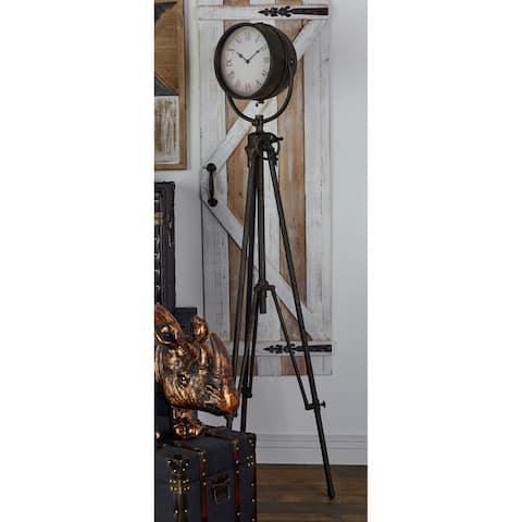 Industrial 57 Inch Black Tripod-Inspired Floor Clock by Studio 350
