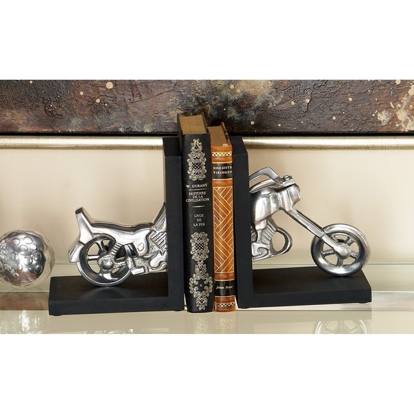 Carbon Loft Kellogg Black and Silver Aluminum Motorcycle Bookends (Set of 2)