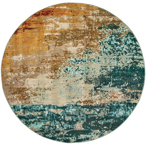 """Strick & Bolton Pepi Eroded Abstract Blue/ Red Rug - 5'3"""" x 7'6"""""""