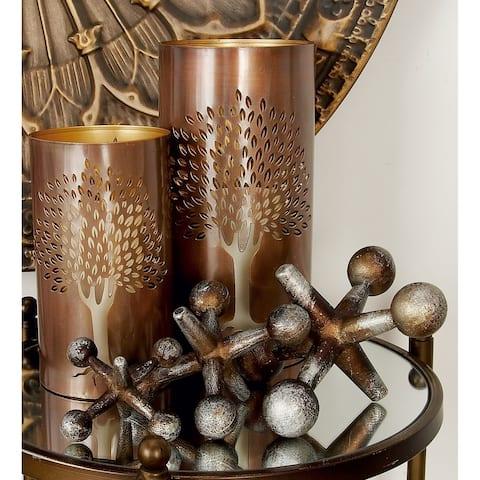 Modern Silver & Bronze Metal Jacks Sculptures Table Décor Set of 3