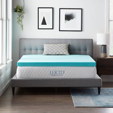 LUCID® Comfort Collection3-inch SureCool Gel Infused Memory Foam Mattress Topper
