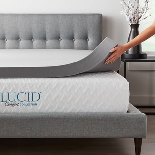 Lucid® Comfort Collection� Bamboo Charcoal Memory Foam Topper - Gray (California King - 4 Inch)