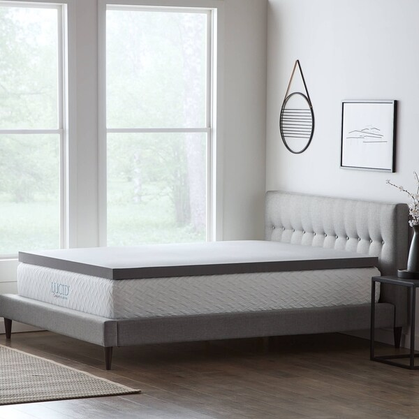 Lucid® Comfort Collection™ Bamboo Charcoal Memory Foam Topper - Gray