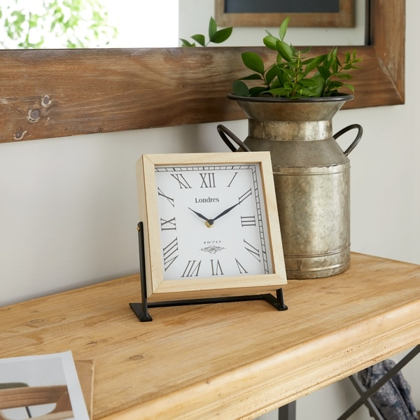 The Gray Barn Wild Cherry Wood Metal Clock 9 inches wide, 9 inches high