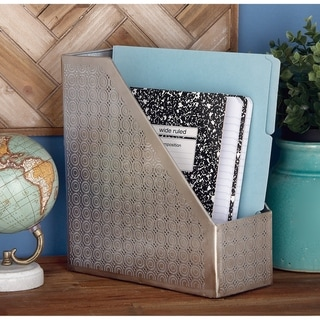 The Curated Nomad Varina-Enon Modern Metal Silver Magazine Holder (11 inches wide, 12 inches high)