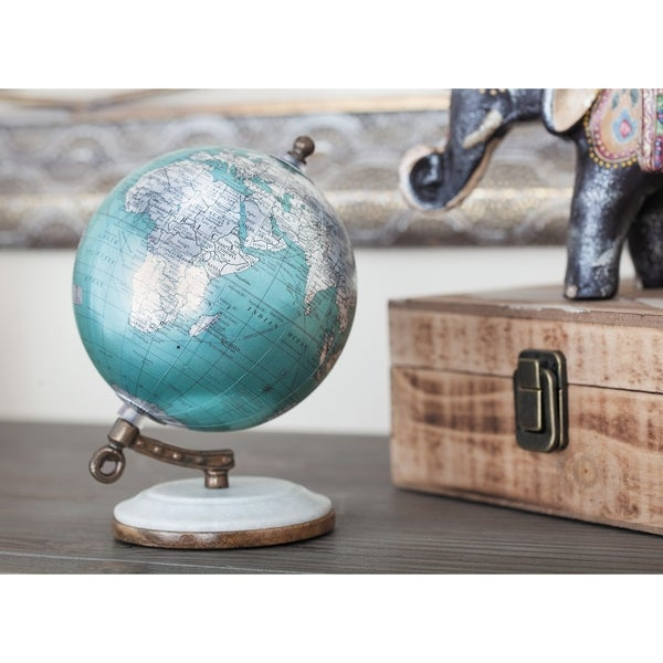 The Curated Nomad Hernando Metal Pu Wood Marble Globe (5 inches wide, 7 inches high)
