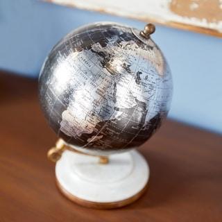 Porch & Den Hernando Metal Pu Wood Black Marble Globe